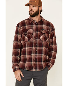 ATG™ by Wrangler Men's All Terrain Men's Coffee Plaid Thermal Lined Long Sleeve Western Flannel Shirt - Big & Tall, Red, hi-res