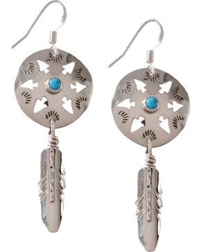 M & S Turquoise Women's Native Amercian Handmade Arrowhead with Feather Sterling Earrings, Silver, hi-res