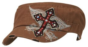 Blazin Roxx Wing Screen Print & Bedecked Cross Patch Cap, Brown, hi-res