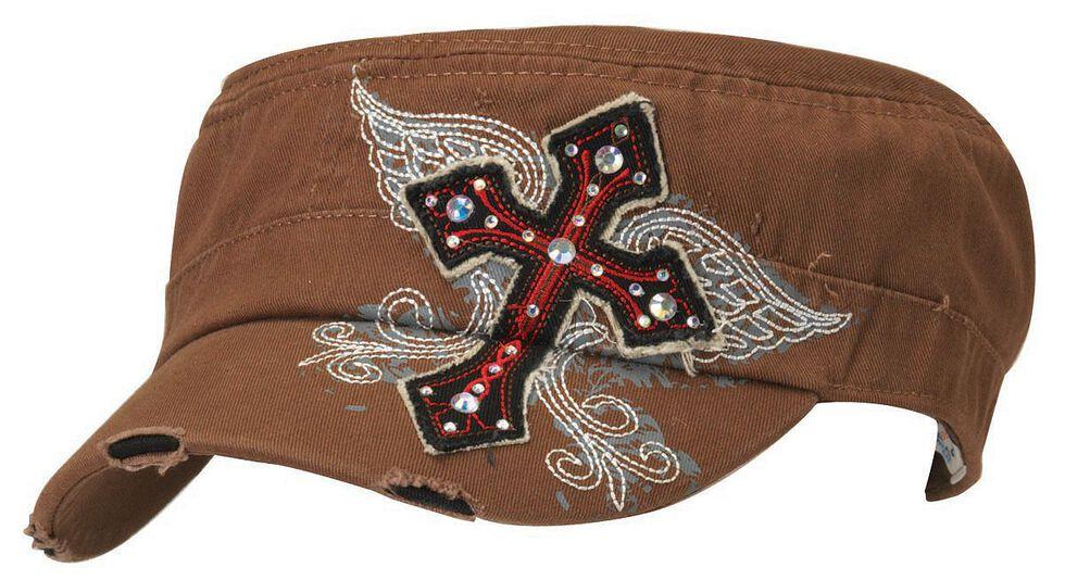 Blazin Roxx Wing Screen Print & Bedecked Cross Patch Cap, Brown, hi-res