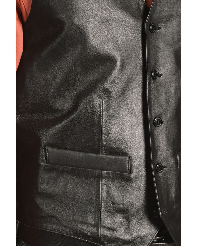 Scully Lamb Leather Western Vest - Tall, Black, hi-res