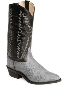 Old West Elephant Print Cowboy Boots - Medium Toe, Grey, hi-res
