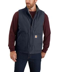 Carhartt Men's Black Washed Duck Sherpa Lined Mock Neck Work Vest , Navy, hi-res