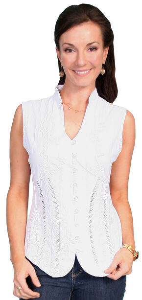Scully Peruvian Cotton Sleeveless Top, White, hi-res