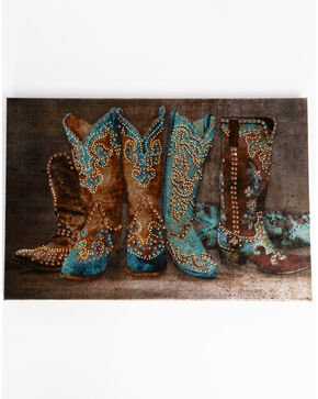 BB Ranch Metallic Cowboy Boot Wall Art, Multi, hi-res