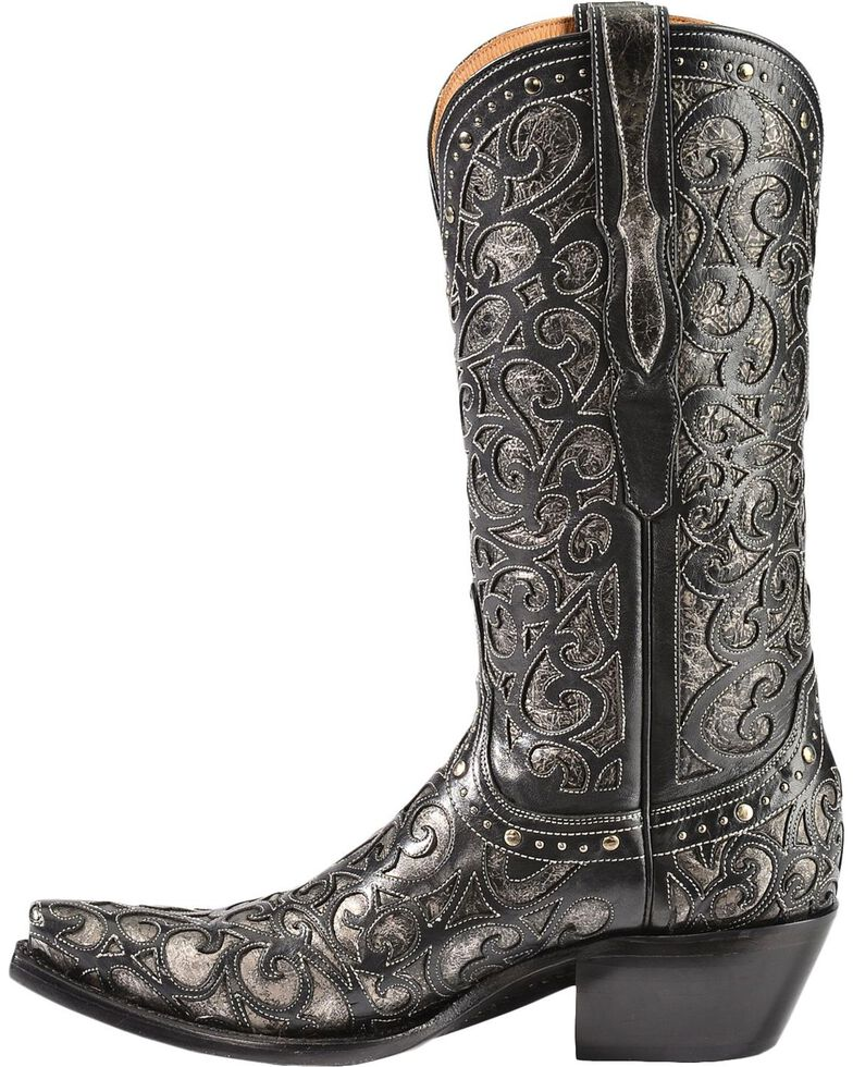 Lucchese Handcrafted 1883 Sierra Lasercut Inlay Cowgirl Boots, Black, hi-res