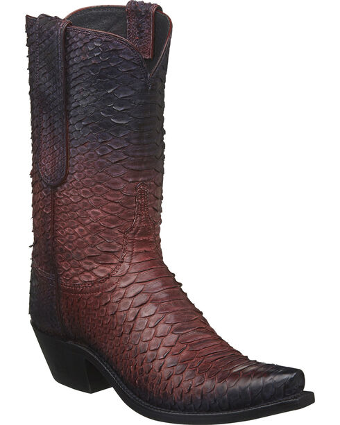 Lucchese Women's Zara Antique Rose Python Western Boots - Square Toe, Rust Copper, hi-res