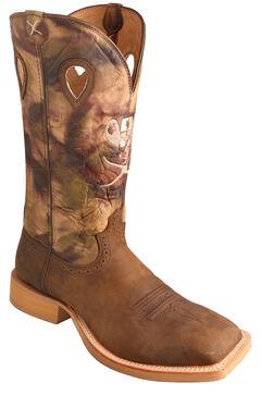Twisted X Brown Camo Ruff Stock Cowboy Boots - Square Toe, Crazyhorse, hi-res