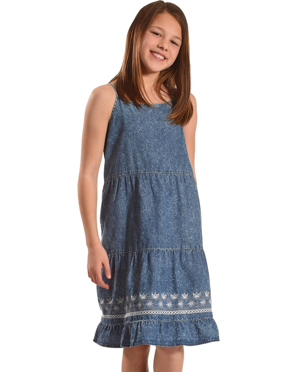 Silver Girls' Sleeveless Tiered Denim Dress, Indigo, hi-res