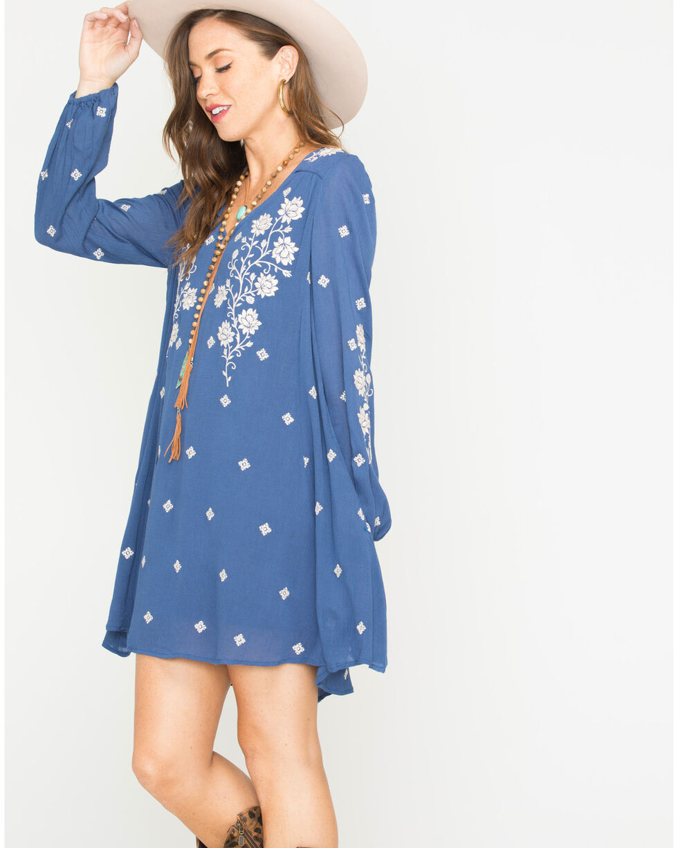 MI. OH. MI. Women's Long Sleeve Embroidered Dress, Navy, hi-res