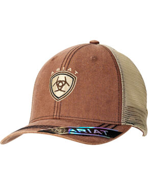 Ariat Men's Shield Logo Mesh Back Cap, Brown, hi-res