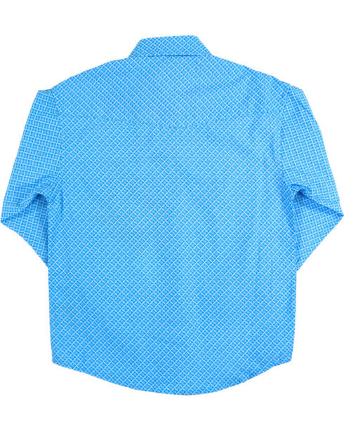 Panhandle Boys' Turquoise Weave Patterned Long Sleeve Shirt , Turquoise, hi-res