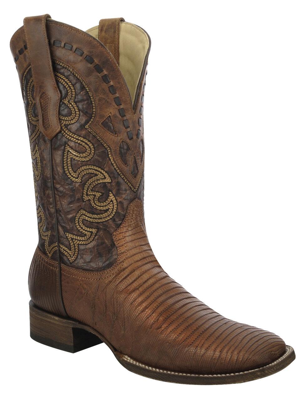 Corral Lizard Cowboy Boots - Wide Square Toe, Tan, hi-res