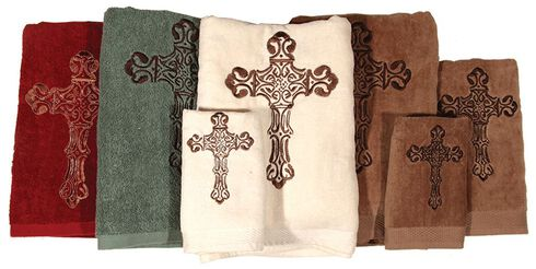 Three-Piece Embroidered Cross Bath Towel Set - Cream, Natural, hi-res