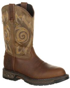Georgia Boot Men's Carbo-Tec LT Western Work Boots - Round Toe, Brown, hi-res