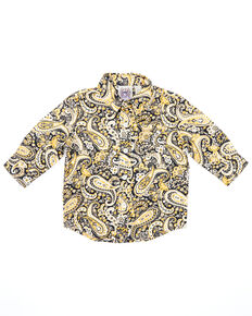 Cinch Infant Boys' Navy Paisley Print Long Sleeve Button-Down Western Shirt , Navy, hi-res