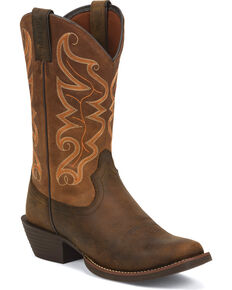 Justin Men's Kaven Stampede Cowboy Boots - Square Toe, Brown, hi-res