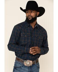 Cody James Men's Cypress Large Windowpaine Plaid Long Sleeve Western Flannel Shirt , Navy, hi-res