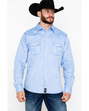 Rock 47 by Wrangler Solid Embroidered Long Sleeve Western Shirt  , Light Blue, hi-res