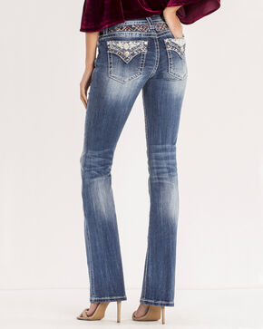 Miss Me Women's Medium Wash Aztec Embellished Jeans - Boot Cut, Blue, hi-res