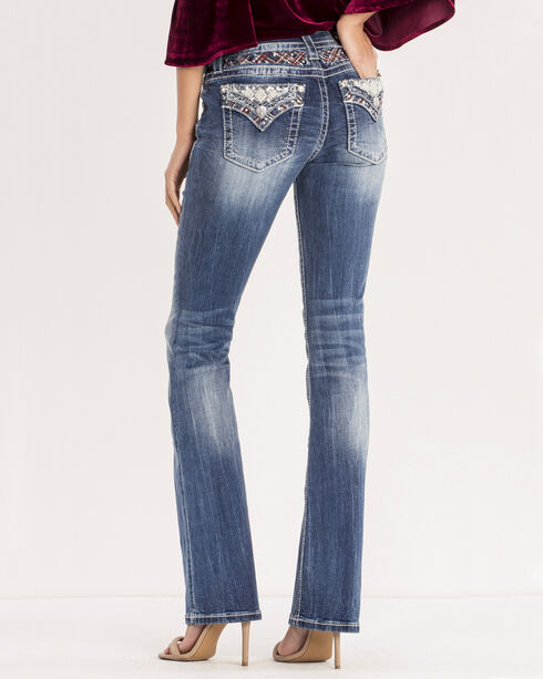 Miss Me Women's Medium Wash Aztec Embellished Jeans - Boot Cut, Blue, hi-res