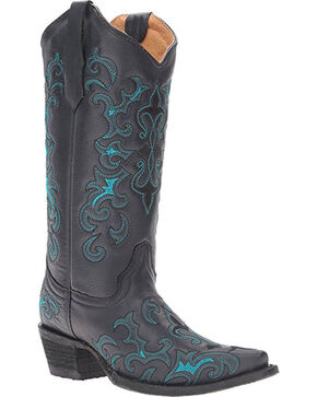Circle G Women's Black Fleur De Lis Boots - Snip Toe , Black, hi-res