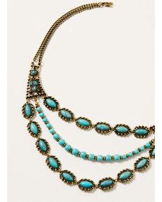 Shyanne Women's Golden Dreamcatcher Multi Strand Turquoise Stone Necklace, Gold, hi-res
