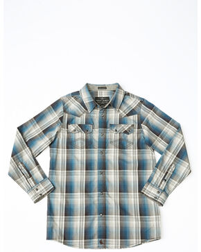 Cody James Boys' Maderas Large Plaid Long Sleeve Western Shirt , Blue, hi-res