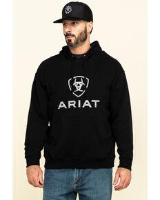 Ariat Men's Black Rough Grain Logo Graphic Hooded Sweatshirt , Black, hi-res