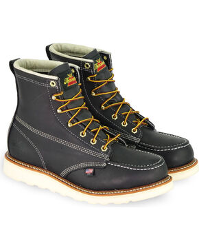 "Thorogood Men's American Heritage 6"" Wedge Work Boots - Steel Toe, Black, hi-res"