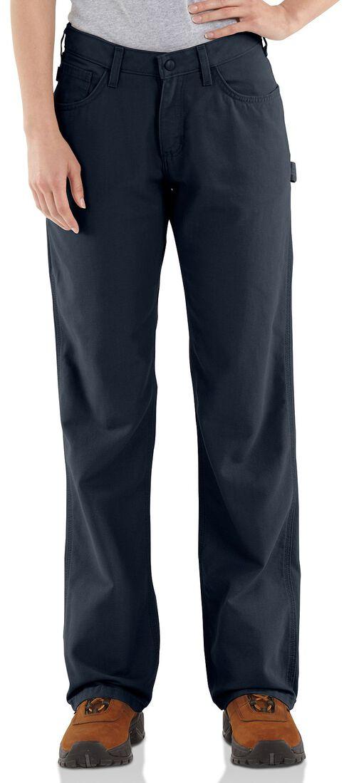 "Carhartt Flame Resistant Canvas Work Pants - 28"" Inseam, Navy, hi-res"