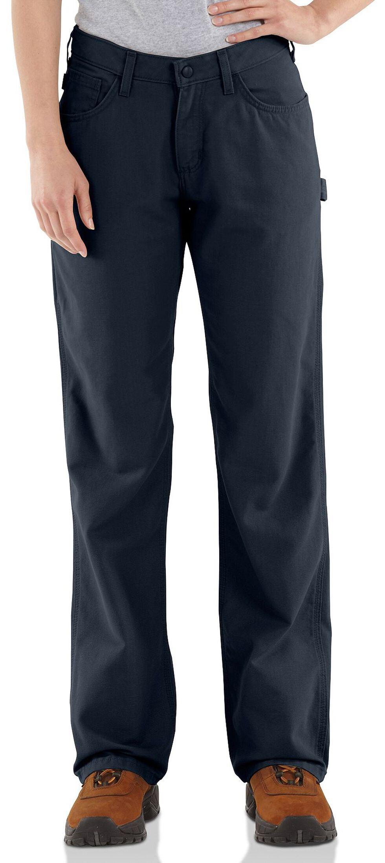 "Carhartt Flame Resistant Canvas Work Pants - 34"" Inseam, Navy, hi-res"