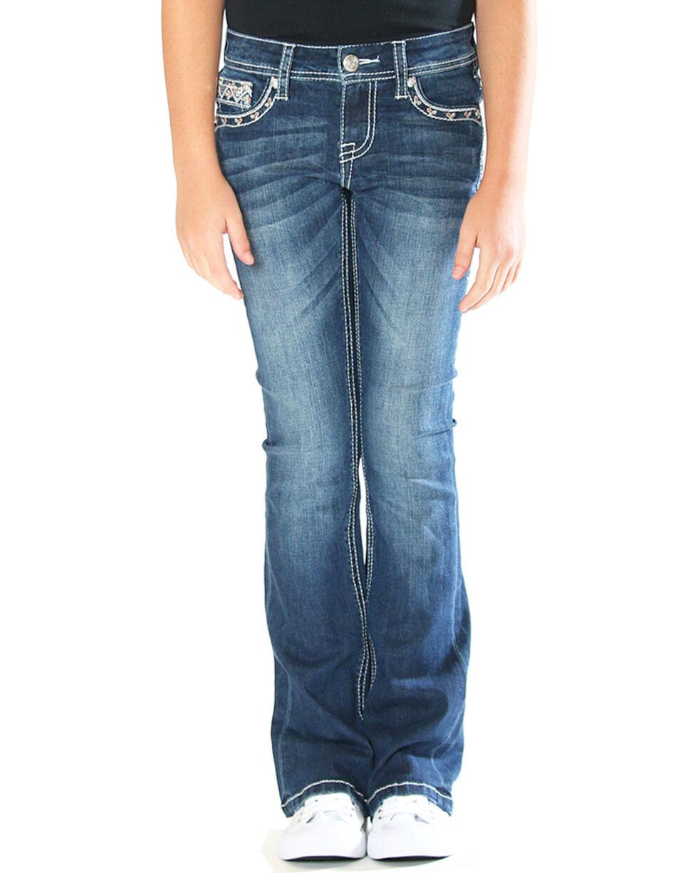 Grace in LA Girls' Ikat Embellished Pocket Jeans - Boot Cut , , hi-res