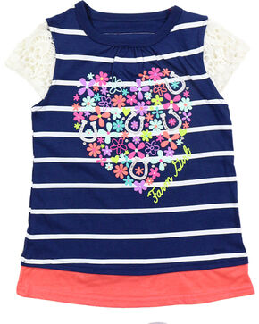 Farm Girl Toddler Girls' Navy Floral Heart Cap Sleeve Top , Navy, hi-res