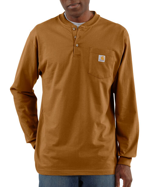 Carhartt Long Sleeve Work Henley Shirt, Brown, hi-res
