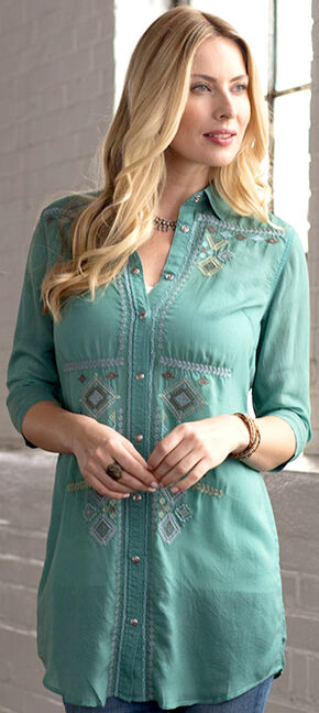 Ryan Michael Women's Embroidered Tunic, Lt Green, hi-res