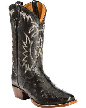 Sheplers' Exclusive - Tony Lama Full-Quill Ostrich Cowboy Boots - Square Toe, Black, hi-res