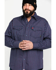 Ariat Men's FR Plainview Checkered Print Long Sleeve Work Shirt - Tall , Navy, hi-res