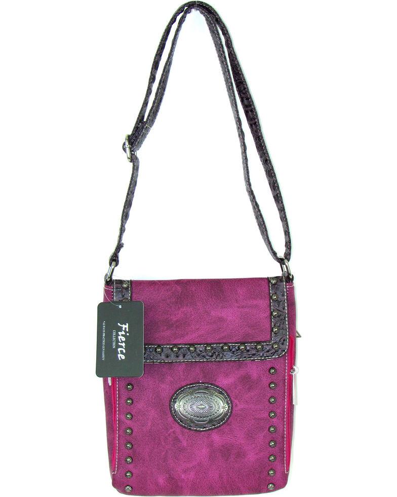 Savana Women's Fierce Conceal Carry Croco Trim Purse *DISCONTINUED*, Hot Pink, hi-res