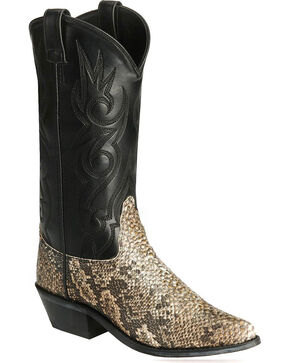 Old West Snake Printed Cowboy Boots, Natural, hi-res