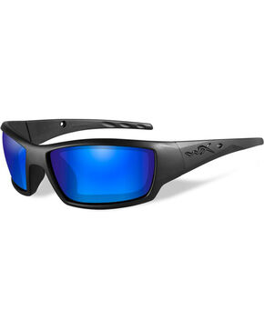 Wiley X Tide Polarized Blue Mirror Matte Black Protective Sunglasses, Black, hi-res