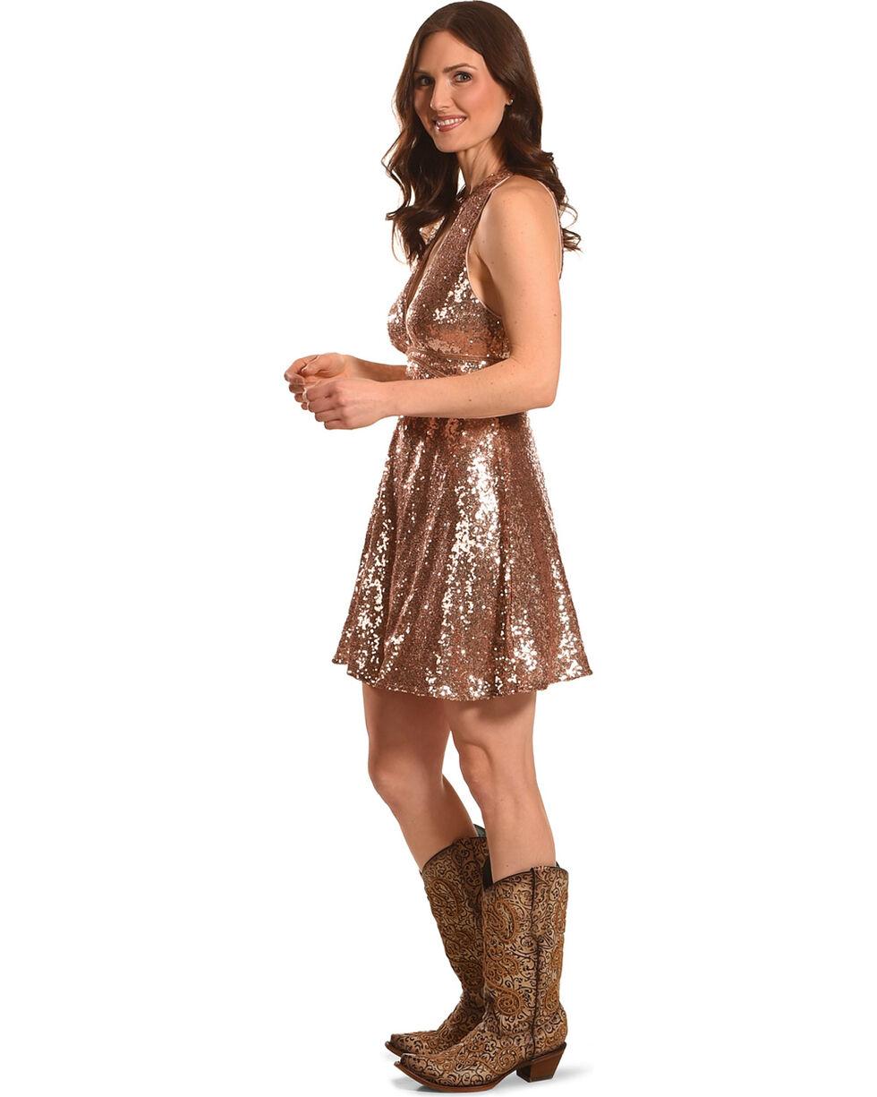 HYFVE Women's Gold Sequin Choker Neckline Dress , Gold, hi-res