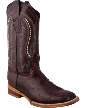 Ferrini Men's Full Quill Ostrich Print Chocolate Cowboy Boots - Square Toe, Chocolate, hi-res