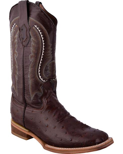 Ferrini Men's Full Quill Ostrich Print Chocolate Cowboy Boots - Square Toe, Chocolate, hi-res