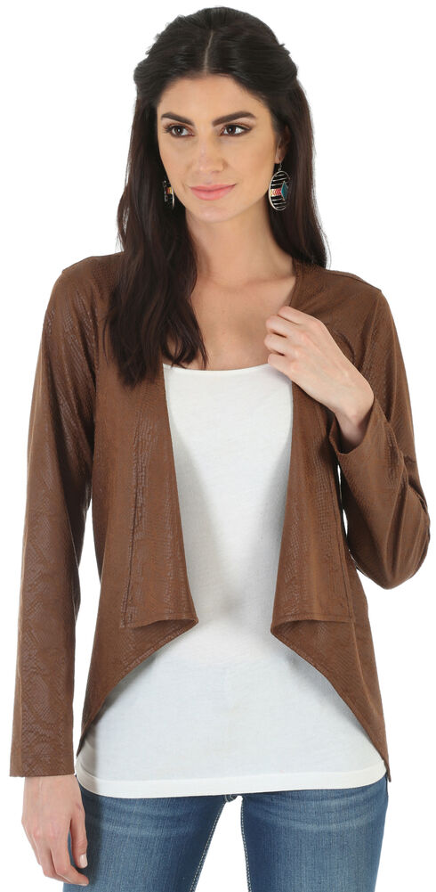 Wrangler Women's Western Fashion Faux Suede Printed Jacket , Brown, hi-res
