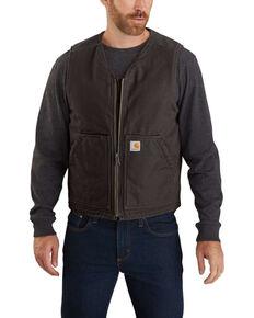 Carhartt Men's Dark Brown Washed Duck Sherpa Lined Vest - Tall, Dark Brown, hi-res