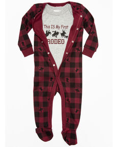 Cody James Infant Boys' First Rodeo Plaid Onesie Set , Black/red, hi-res