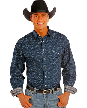 Panhandle Slim Men's Navy Print Snap Western Shirt , Navy, hi-res