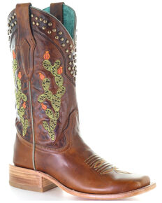 Corral Women's Brown Embroidery & Studs Western Boots - Square Toe, Brown, hi-res