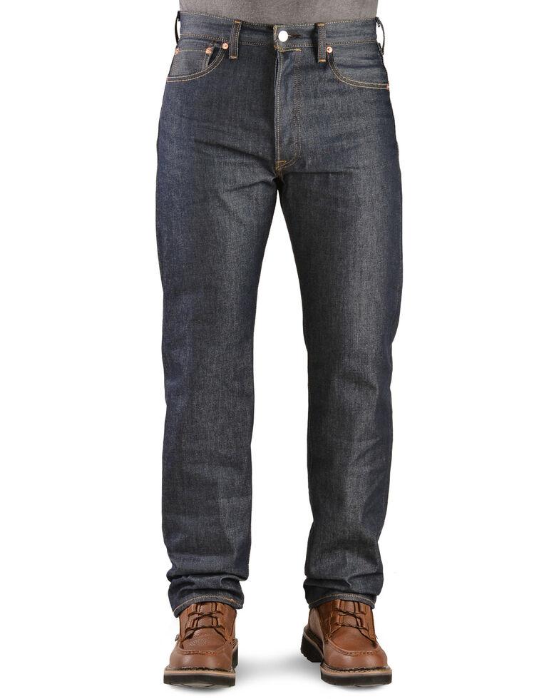 Levi's Men's 501 Original Shrink-to-Fit Regular Straight Leg Jeans, Indigo, hi-res
